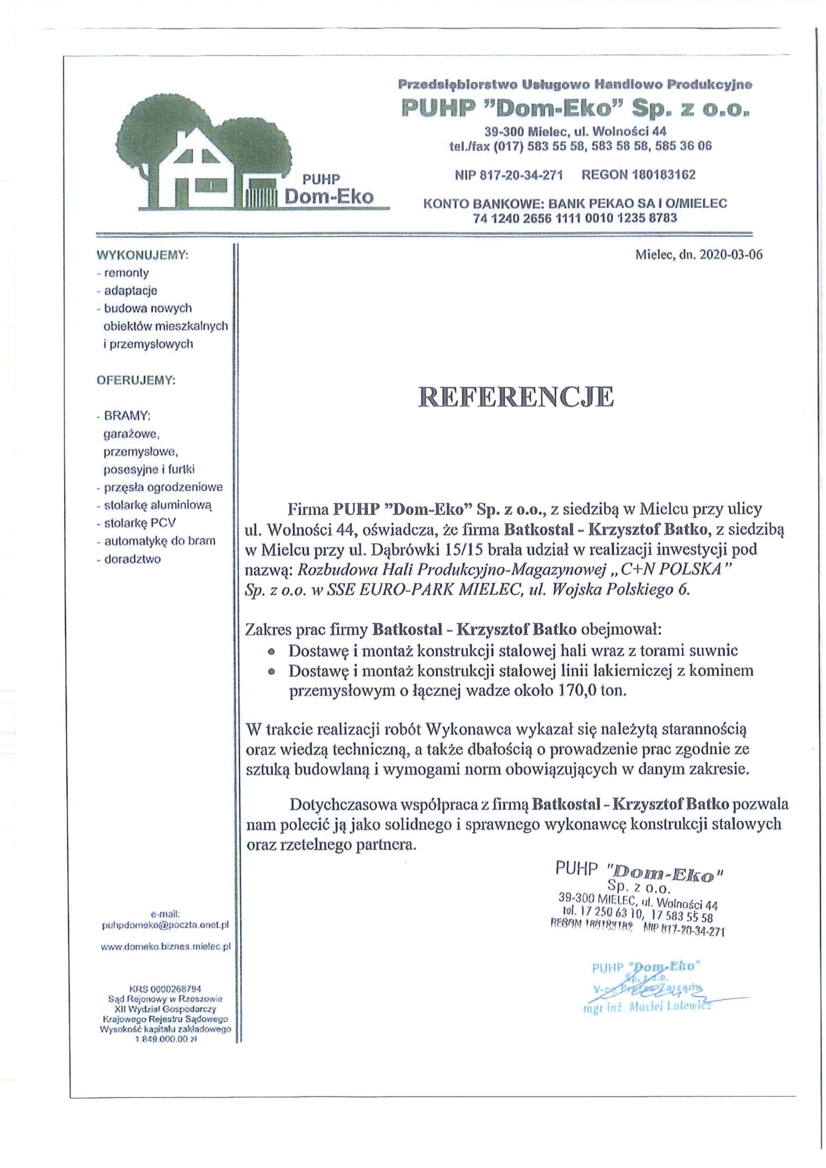 Referencje BS 001 – C+N-1
