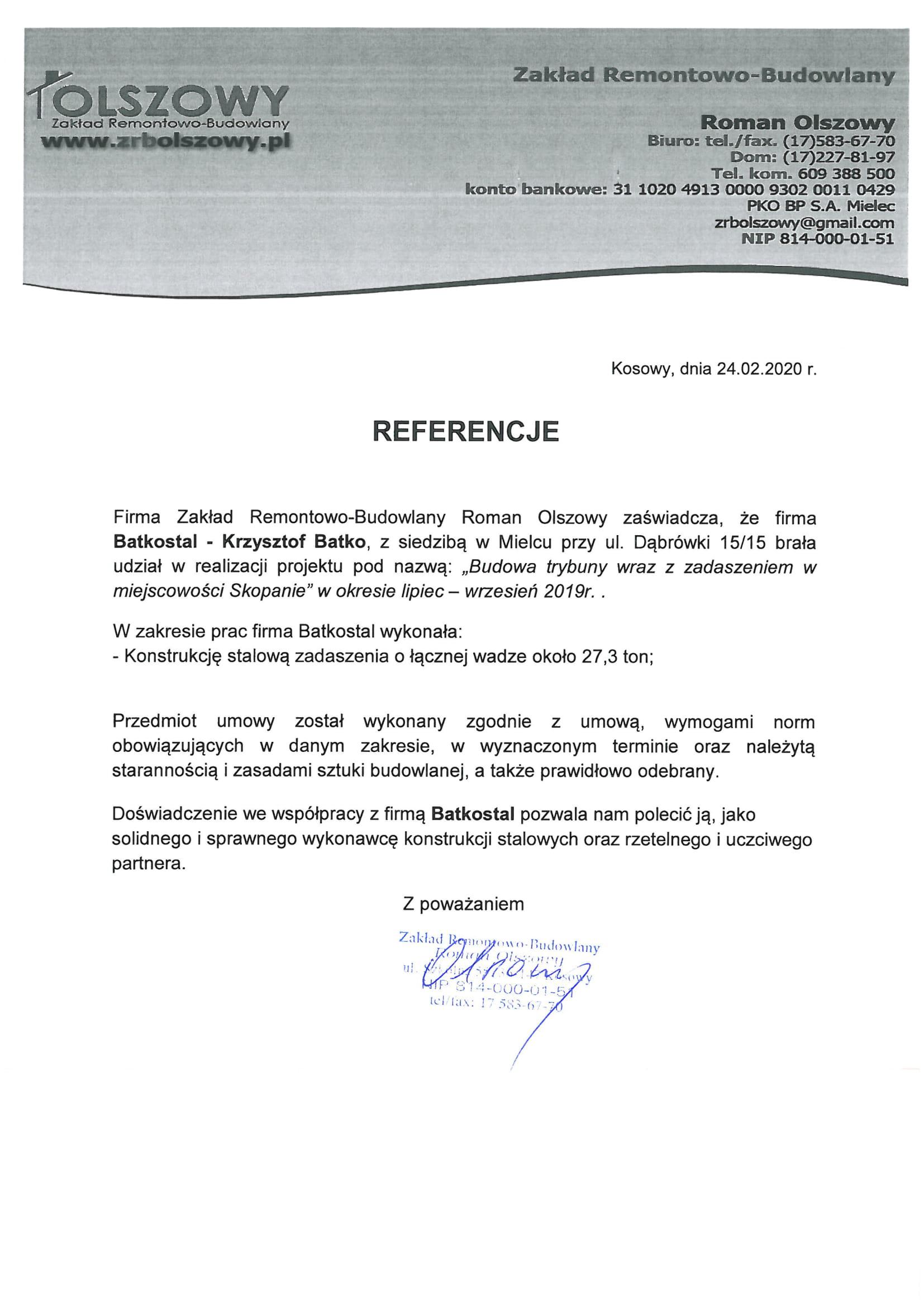 Referencje BS 073 – ZRB Olszowy-1
