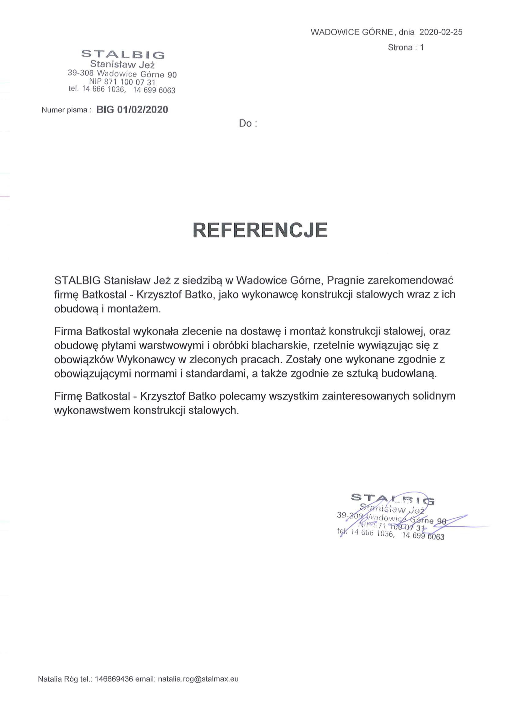 Referencje STALBIG-1